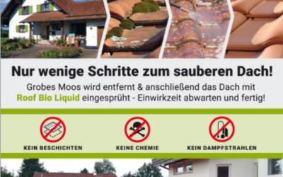 Nur wenige Schritte zum sauberen Dach:  Grobes Moos wird ent…